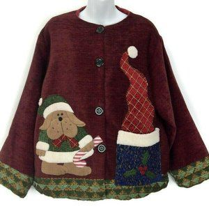 """Ugly Christmas Sweater Vintage Cardigan 46"""" Chest"""